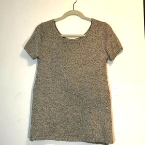 Paper Crown Gray Heather Short Sleeve Sweater S